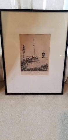 R-1009...Saint Marc, Etching of a Sailboat