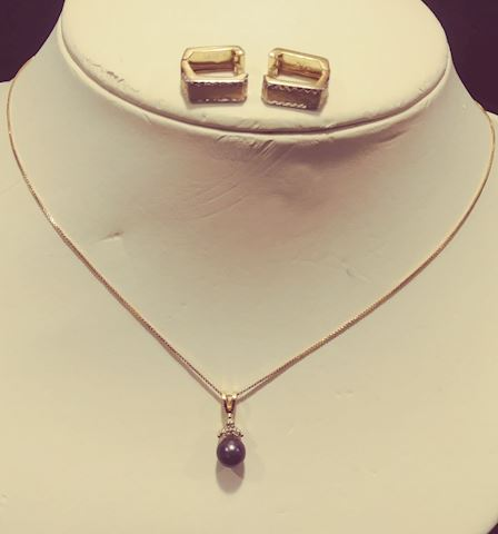 14k Earrings and Necklace
