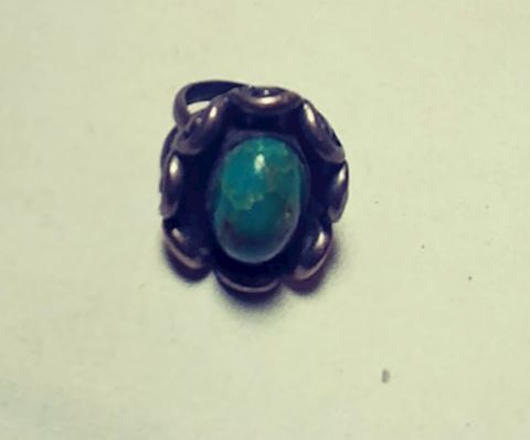 Handcrafted Ring 1950s Turquoise Sterling Silver