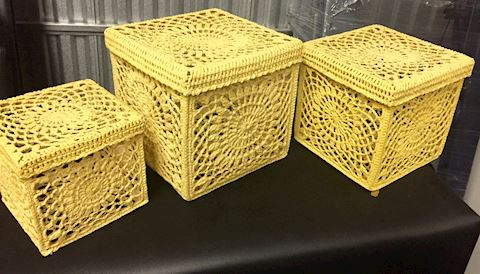 3 Vintage Hand Made Crochet Stackable Boxes