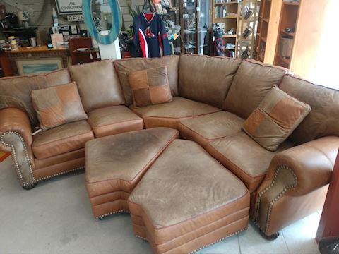 Large Sectional Brown Leather Couch and Ottomans