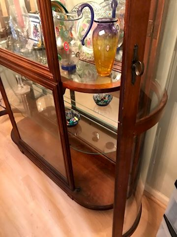 Solid Wood and Glass Lighted Curio Mid Century