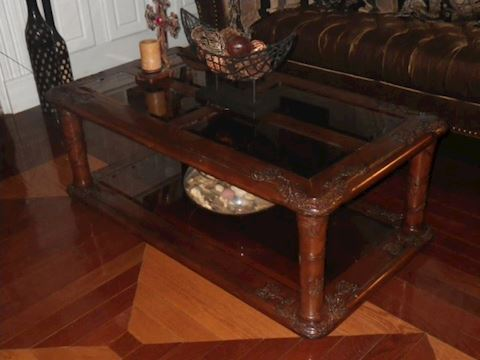 Wooden Coffee Table with Carved Accents