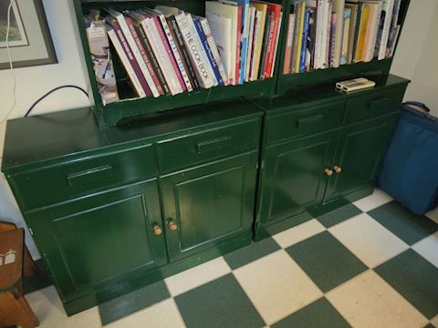 Two Green Painted Cabinets