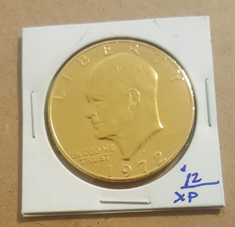 BU 1972 Gold Plated Ike Dollar Coin