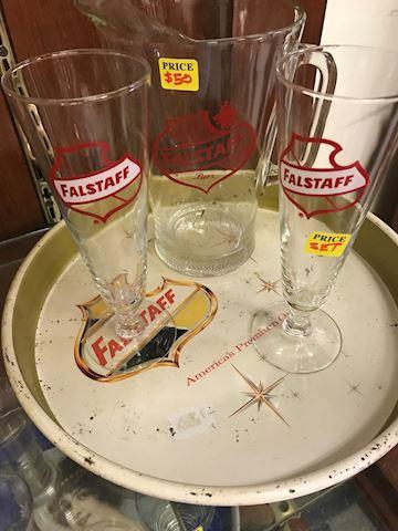 Rare Vintage Falstaff Pitcher and 2 Glasses w/trey