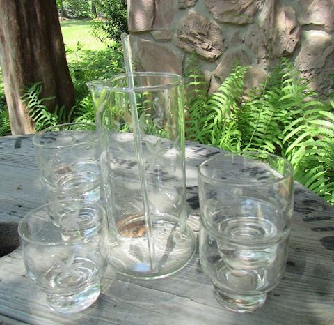Vtg Etched Clear Beverage/Cordial Set 7pcs