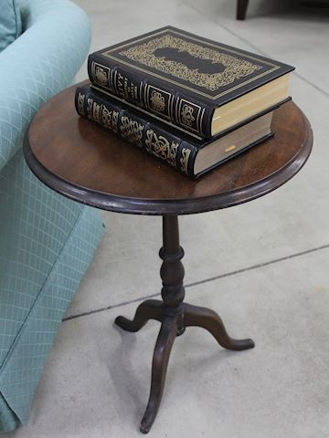 Round Dark Wood Side Table with Pedestal Base