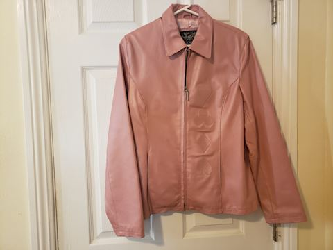 ANDRADE PINK LEATHER JACKET XL, FULLY LINED