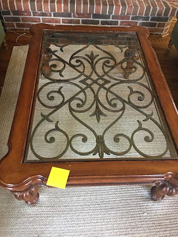 Iron Scrolls Wood & Glass Large Coffee Table