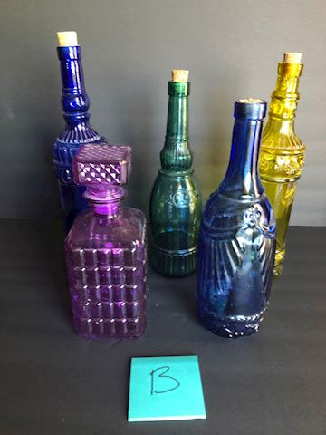 Vintage and Newer Decorative Glass Bottles Lot B