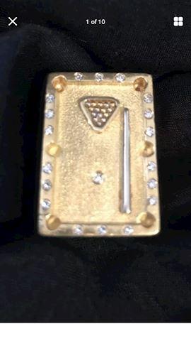 Men's 18K Gold Billiard Ring 24.6 gm & 19 diamonds