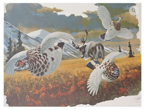 Signed Print by Richard Sloan Willow Ptarmigan
