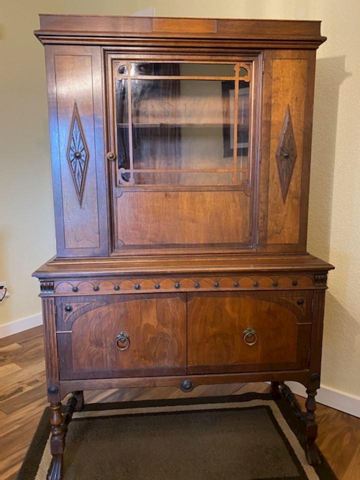 Vintage 1930's Jacobean Style Breakfront Cabinet