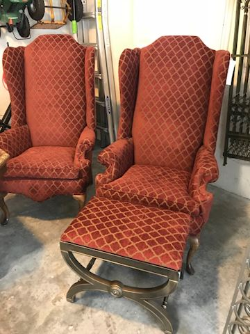 High Wing Back Chairs and footstool