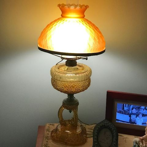 Antique Amber Glass Parlor Lamp