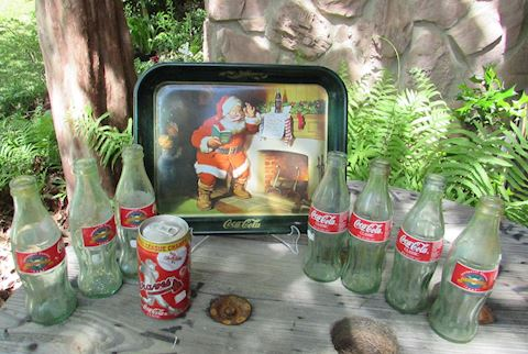Santa Coke Tray & Turner Field Coke Bottle Lot