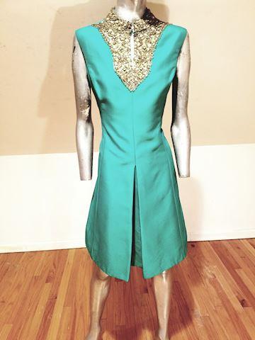 Vtg Silk Shantung Trapeze dress embellished