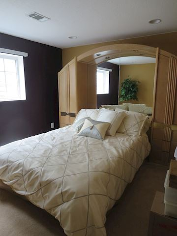 Contemporary Queen Bed w Side Cupboards Bassett
