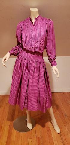 Adele Simpson 70's magenta silk skirt ensemble