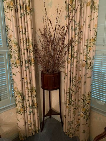 MB  105  Tall wood Planter with Dried floral
