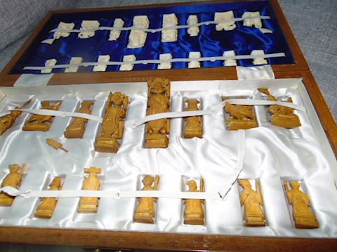 Hand-carved Wooden Chinese Chess Set