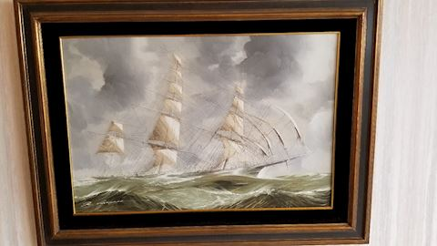Clipper Ship oil on canvas by Renato Longanesi