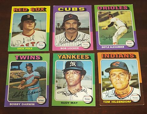Collection of 6 1975 Baseball Cards
