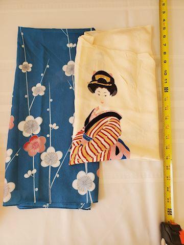 2 silk Japanese pattern scarves