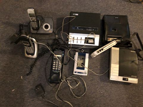 Vintage tape recorders and phones, et. al.