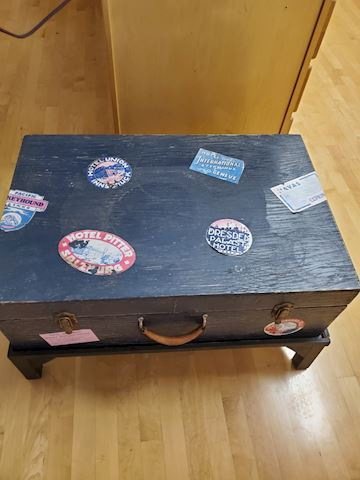 Blue coffee table travel trunk