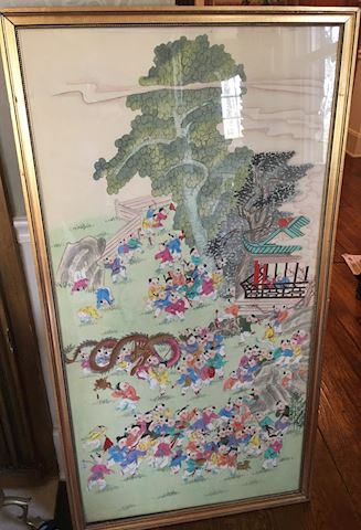 Large Framed Chinese Artwork Children Playing