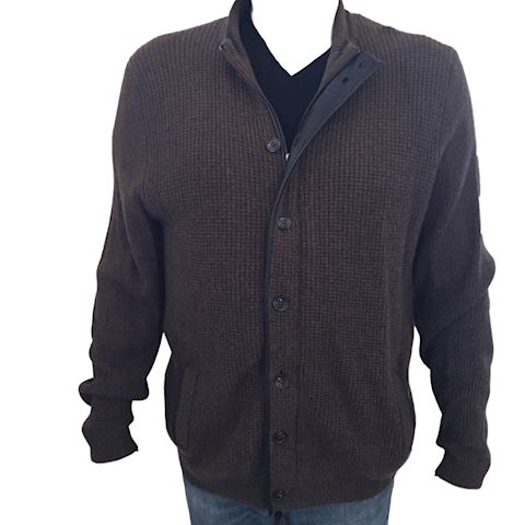 Men's 2 Ply Cashmere & Leather Sweater Jacket XL
