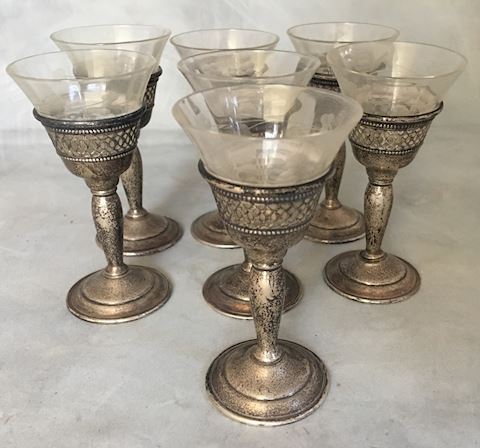Vintage Cordial Wine Port Sterling Silver Glasses