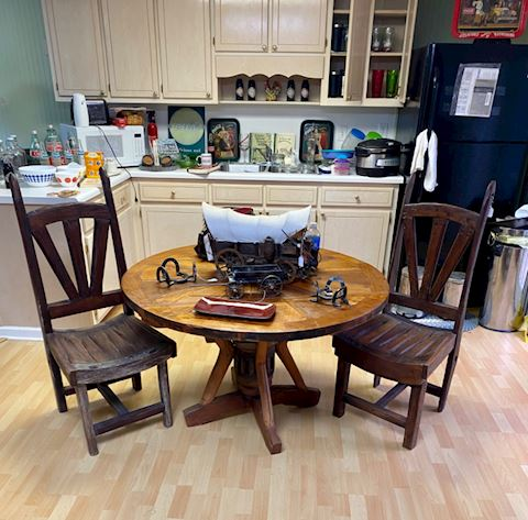 Rustic western table and chairs