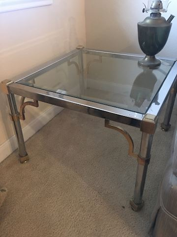 Glass topped end table
