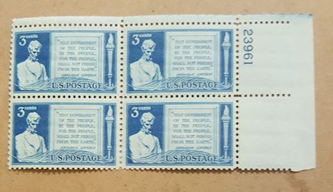 Plate Block of 4 Abraham Lincoln 3 Cent Stamps MNH