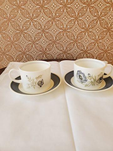 "Two Wedgwood coffee cups ""Glen Mist"""