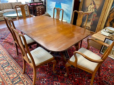 Mahogany double pedestal table