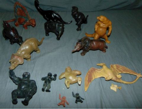 RARE Vintage 1950s JH MILLER Wax Plastic Dinosaurs