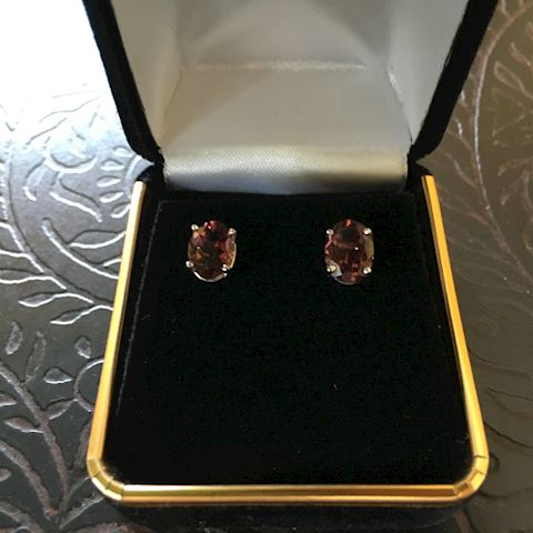 2.50 Rose Tourmaline Earrings  14k Gold