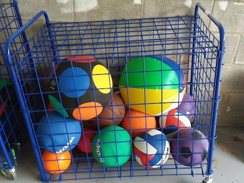 Metal Storage Container of Assorted Sports Balls