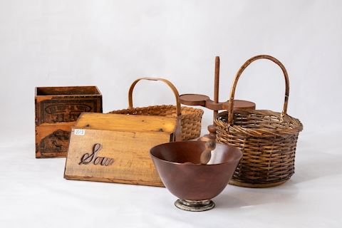 Lot 0013 Assorted  Wood and basket accessorizes