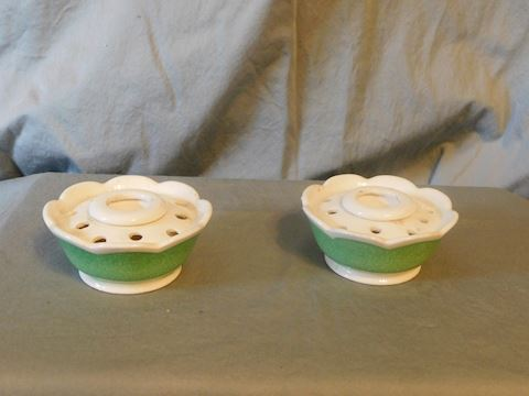 flower frog candlestick holders