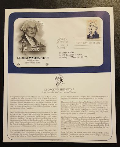 George Washington 1986 First Day of Issue Cover