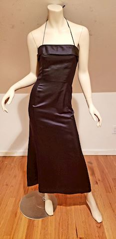Vtg Lee Claire Couture shantung maxi w/bow
