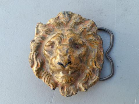 lrg lions head brass belt buckle