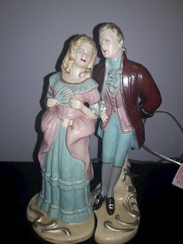 Boy & Girl Vintage Chalkware Ceramic Pair