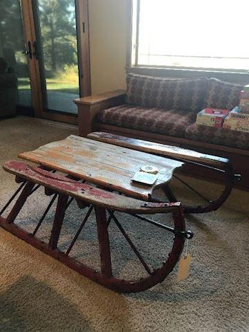 Norwegian Sleigh Coffee Table primitive antique