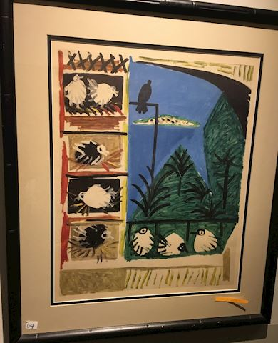 Unsigned Abstract Birds Lithograph